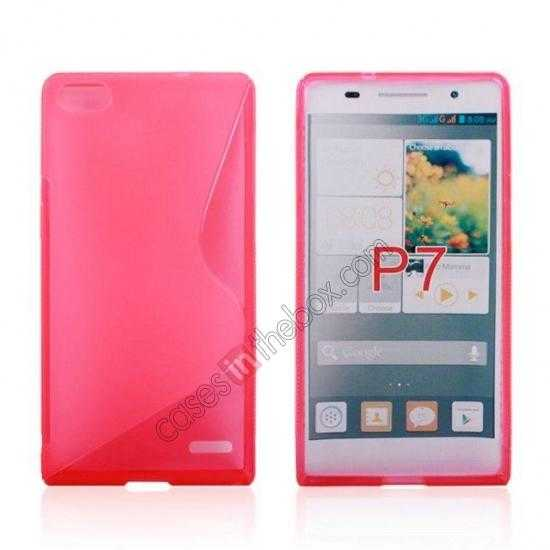 wholesale New S Line TPU Soft Cover Case For Huawei Ascend P7 - Pink