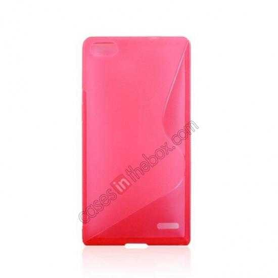cheap New S Line TPU Soft Cover Case For Huawei Ascend P7 - Pink