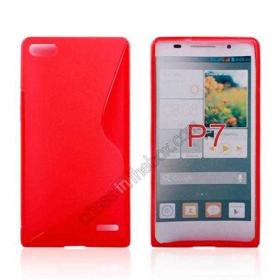 wholesale New S Line TPU Soft Cover Case For Huawei Ascend P7 - Red