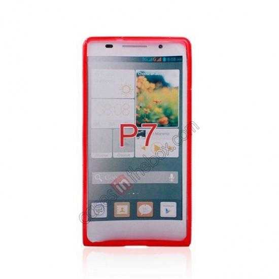 discount New S Line TPU Soft Cover Case For Huawei Ascend P7 - Red