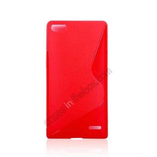 cheap New S Line TPU Soft Cover Case For Huawei Ascend P7 - Red