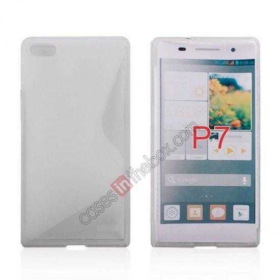 wholesale New S Line TPU Soft Cover Case For Huawei Ascend P7 - Transparent
