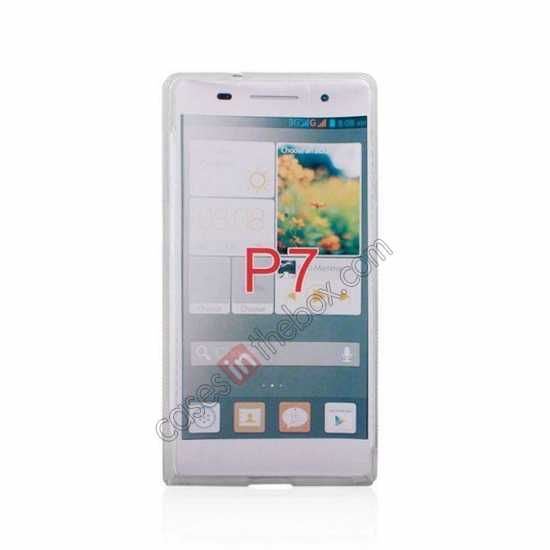 discount New S Line TPU Soft Cover Case For Huawei Ascend P7 - Transparent