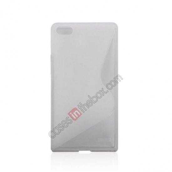 cheap New S Line TPU Soft Cover Case For Huawei Ascend P7 - Transparent