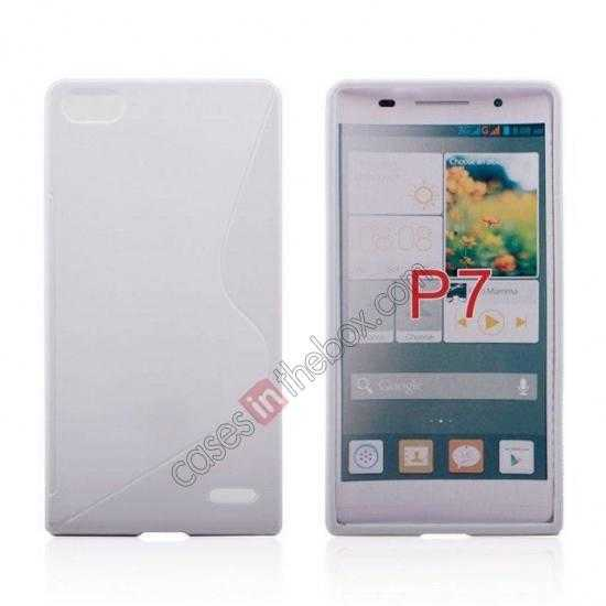 wholesale New S Line TPU Soft Cover Case For Huawei Ascend P7 - White