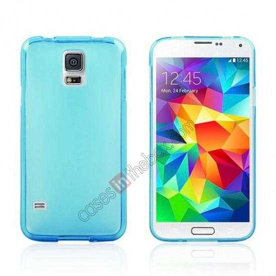 wholesale New Ultra Thin Soft TPU Back Case Cover For Sumsung Galaxy S5 - Blue