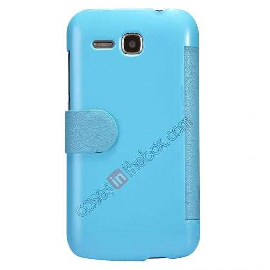 discount Newest Nillkin Fresh Series Slim Flip Leather Case for HUAWEI Y600 - Blue
