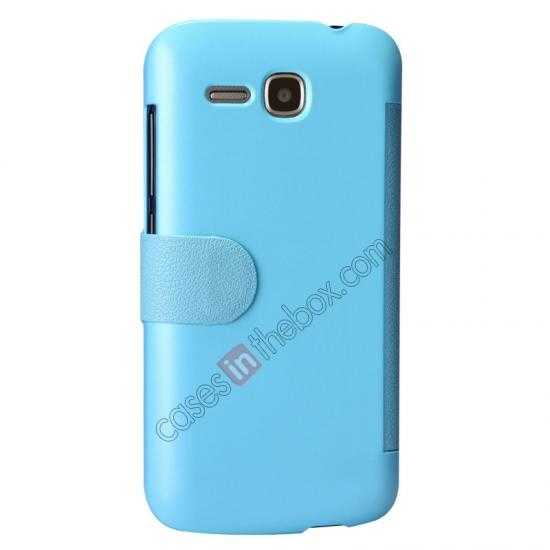 cheap Newest Nillkin Fresh Series Slim Flip Leather Case for HUAWEI Y600 - Blue