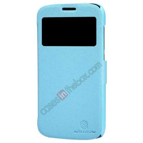 top quality Newest Nillkin Fresh Series Slim Flip Leather Case for HUAWEI Y600 - Blue