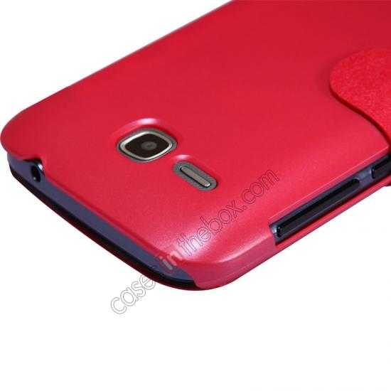 top quality Newest Nillkin Fresh Series Slim Flip Leather Case for HUAWEI Y600 - Red