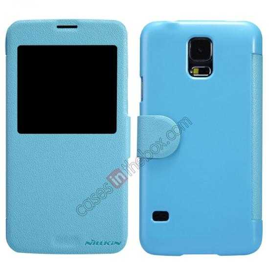 wholesale Nillkin Fresh Series Magnetic Flip Leather Case Cover for Samsung Galaxy S5 - Blue