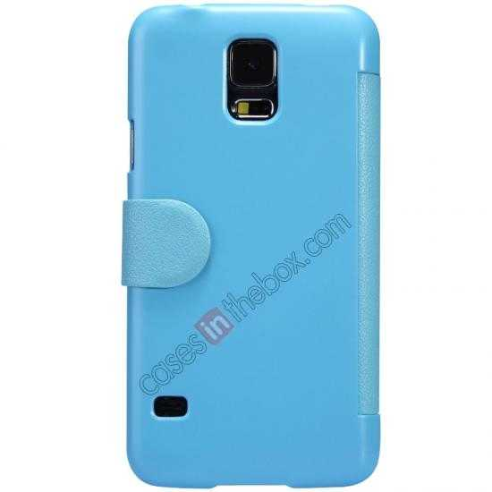 cheap Nillkin Fresh Series Magnetic Flip Leather Case Cover for Samsung Galaxy S5 - Blue