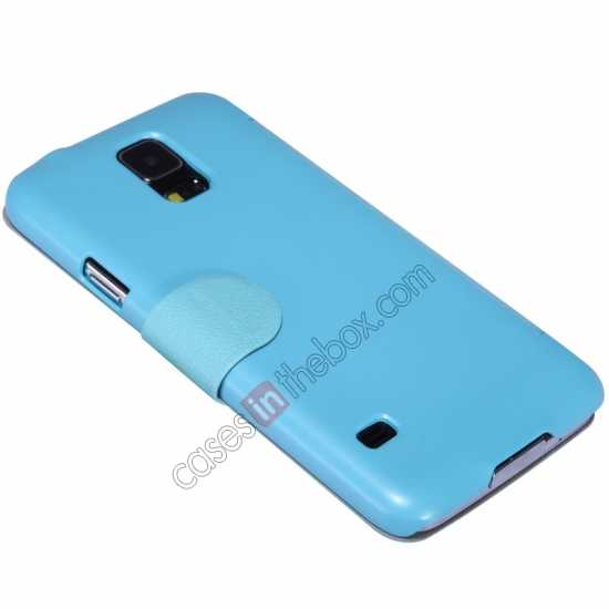top quality Nillkin Fresh Series Magnetic Flip Leather Case Cover for Samsung Galaxy S5 - Blue
