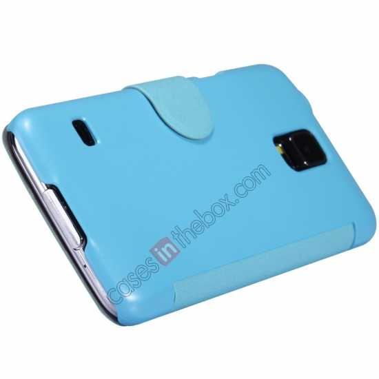 best price Nillkin Fresh Series Magnetic Flip Leather Case Cover for Samsung Galaxy S5 - Blue