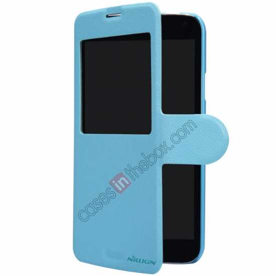 on sale Nillkin Fresh Series Magnetic Flip Leather Case Cover for Samsung Galaxy S5 - Blue