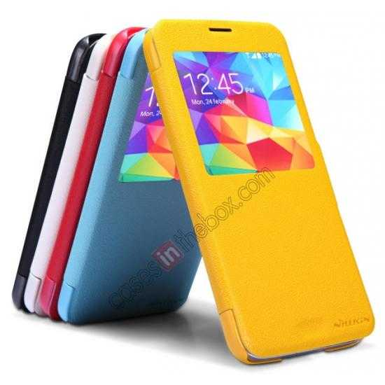 low price Nillkin Fresh Series Magnetic Flip Leather Case Cover for Samsung Galaxy S5 - Blue