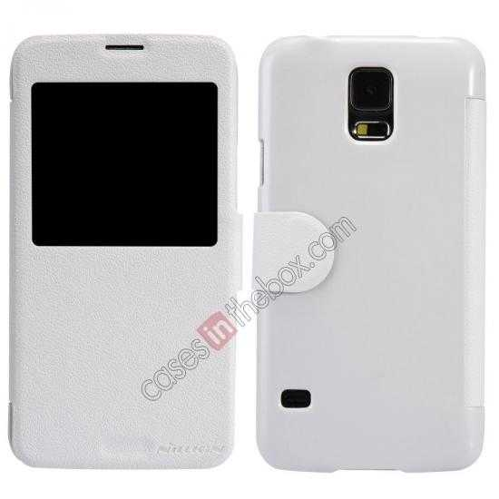 wholesale Nillkin Fresh Series Magnetic Flip Leather Case Cover for Samsung Galaxy S5 - White