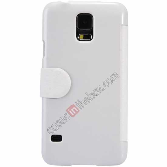 cheap Nillkin Fresh Series Magnetic Flip Leather Case Cover for Samsung Galaxy S5 - White