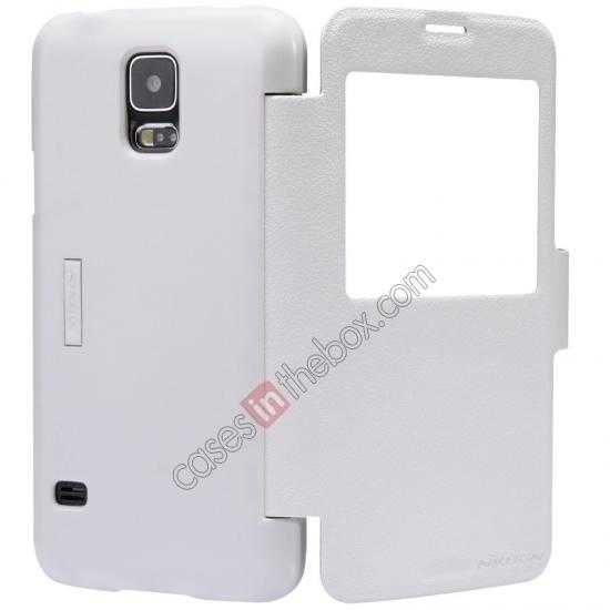 top quality Nillkin Fresh Series Magnetic Flip Leather Case Cover for Samsung Galaxy S5 - White