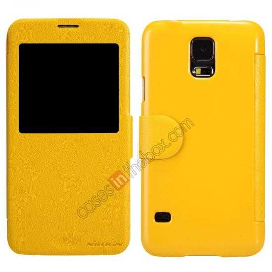wholesale Nillkin Fresh Series Magnetic Flip Leather Case Cover for Samsung Galaxy S5 - Yellow