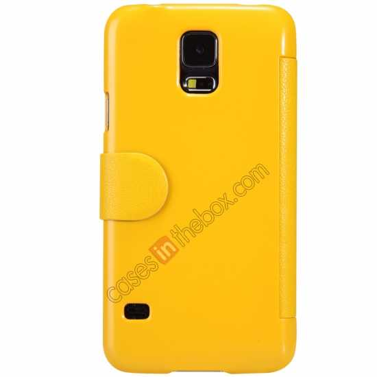 cheap Nillkin Fresh Series Magnetic Flip Leather Case Cover for Samsung Galaxy S5 - Yellow