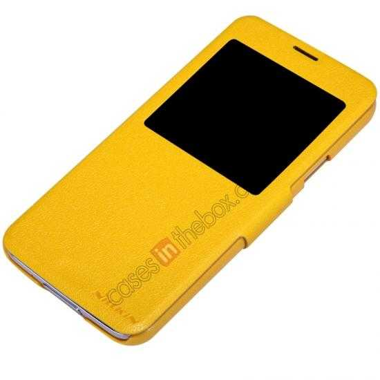 top quality Nillkin Fresh Series Magnetic Flip Leather Case Cover for Samsung Galaxy S5 - Yellow