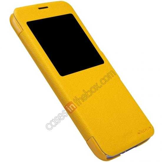 best price Nillkin Fresh Series Magnetic Flip Leather Case Cover for Samsung Galaxy S5 - Yellow