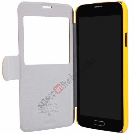 on sale Nillkin Fresh Series Magnetic Flip Leather Case Cover for Samsung Galaxy S5 - Yellow
