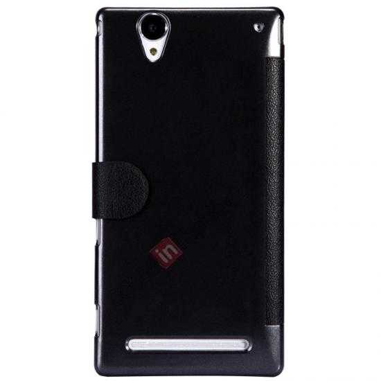 cheap Nillkin Fresh Series Magnetic Flip Leather Case Cover for Sony Xperia T2 Ultra - Black