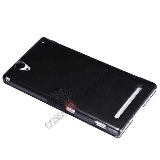 best price Nillkin Fresh Series Magnetic Flip Leather Case Cover for Sony Xperia T2 Ultra - Black