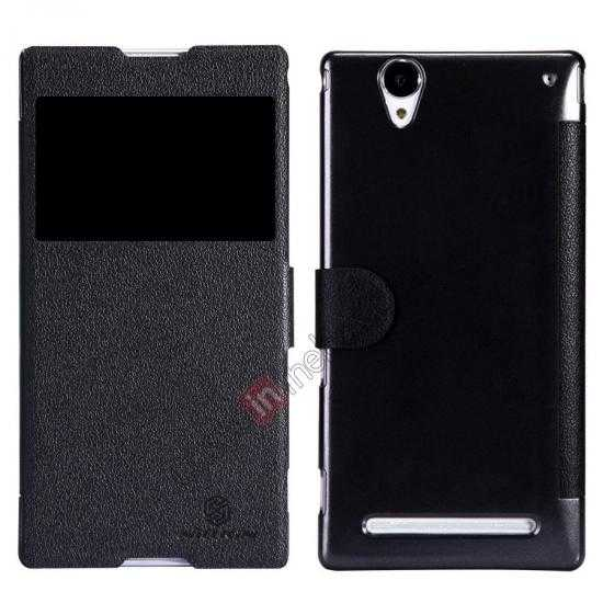 wholesale Nillkin Fresh Series Magnetic Flip Leather Case Cover for Sony Xperia T2 Ultra - Black
