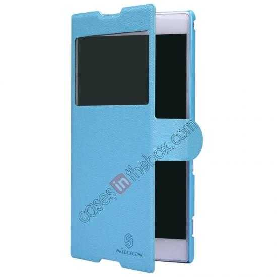 discount Nillkin Fresh Series Magnetic Flip Leather Case Cover for Sony Xperia T2 Ultra - Blue