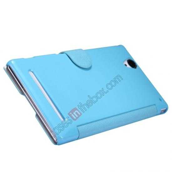 top quality Nillkin Fresh Series Magnetic Flip Leather Case Cover for Sony Xperia T2 Ultra - Blue