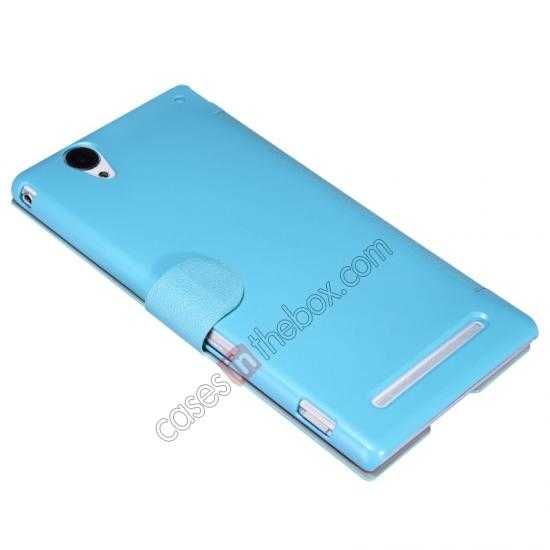 best price Nillkin Fresh Series Magnetic Flip Leather Case Cover for Sony Xperia T2 Ultra - Blue