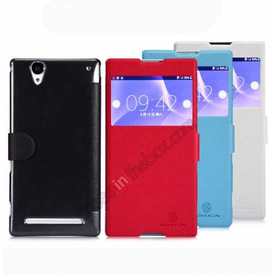 on sale Nillkin Fresh Series Magnetic Flip Leather Case Cover for Sony Xperia T2 Ultra - Blue