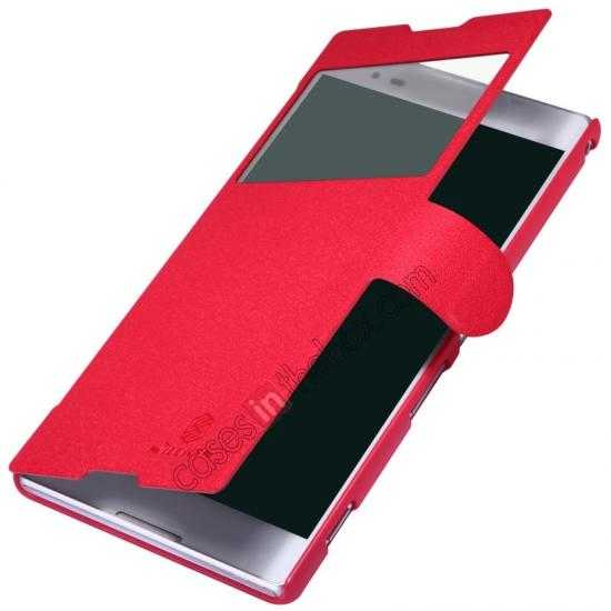 best price Nillkin Fresh Series Magnetic Flip Leather Case Cover for Sony Xperia T2 Ultra - Red