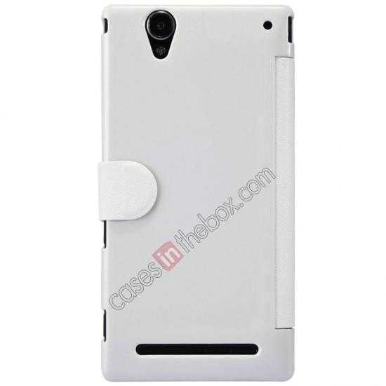 cheap Nillkin Fresh Series Magnetic Flip Leather Case Cover for Sony Xperia T2 Ultra - White
