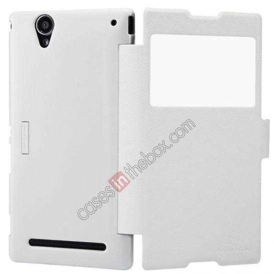 top quality Nillkin Fresh Series Magnetic Flip Leather Case Cover for Sony Xperia T2 Ultra - White