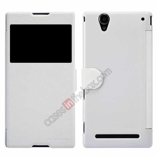 wholesale Nillkin Fresh Series Magnetic Flip Leather Case Cover for Sony Xperia T2 Ultra - White