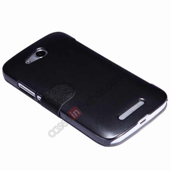 top quality Nillkin Fresh Series Side Flip Leather Case for Huawei B199 - Black