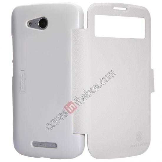 cheap Nillkin Fresh Series Side Flip Leather Case for Huawei B199 - White