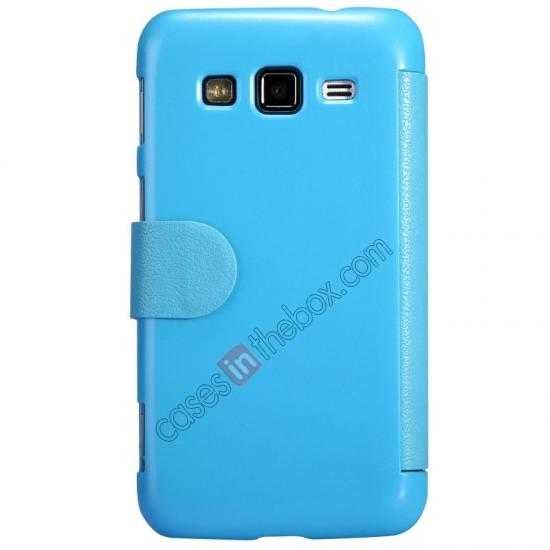 top quality Nillkin Fresh Series Side Flip Leather Case for Samsung I8580(Galaxy Core Advance) - Blue