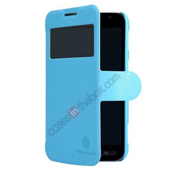 best price Nillkin Fresh Series Side Flip Leather Case for Samsung I8580(Galaxy Core Advance) - Blue