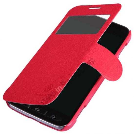 best price Nillkin Fresh Series Side Flip Leather Case for Samsung I8580(Galaxy Core Advance) - Red
