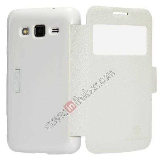 best price Nillkin Fresh Series Side Flip Leather Case for Samsung I8580(Galaxy Core Advance) - White