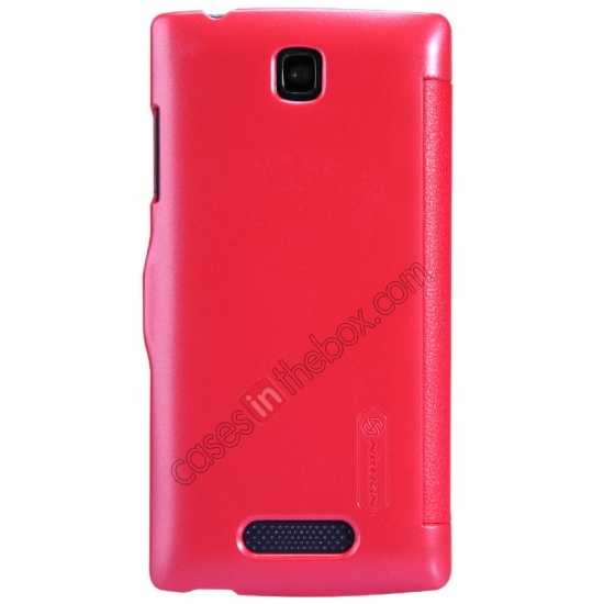 discount Nillkin Fresh Series Slim Flip Leather Case For OPPO R831T - Red