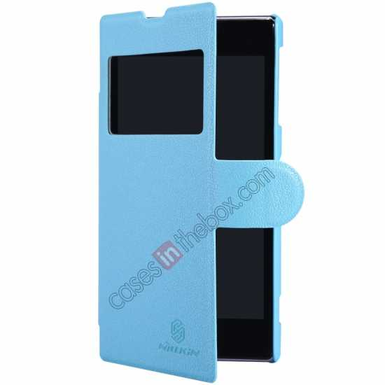 best price Nillkin Fresh Series Slim Flip Leather Case For Sony L39U - Blue