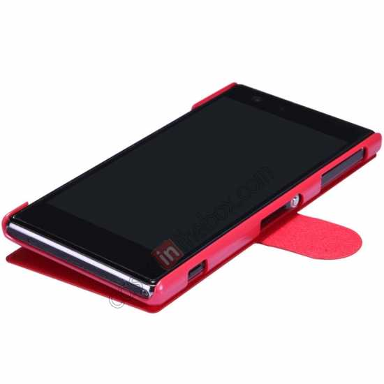cheap Nillkin Fresh Series Slim Flip Leather Case For Sony L39U - Red