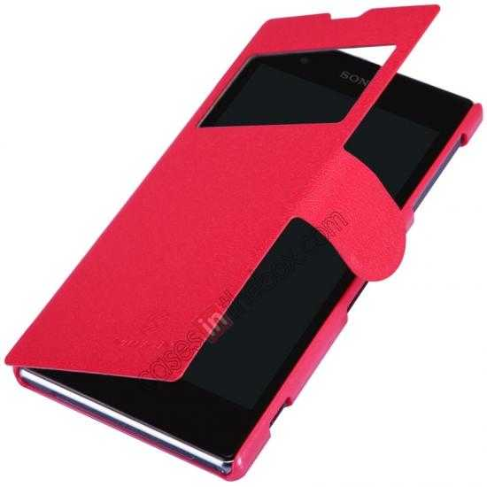 top quality Nillkin Fresh Series Slim Flip Leather Case For Sony L39U - Red