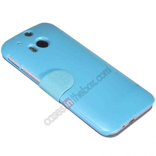 cheap Nillkin Fresh Series View Window Folio Leather Case for HTC One 2 M8 - Blue